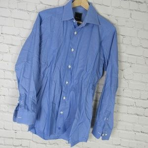 David Donahue Dress Shirt Mens 15.5 Blue Trim Fit